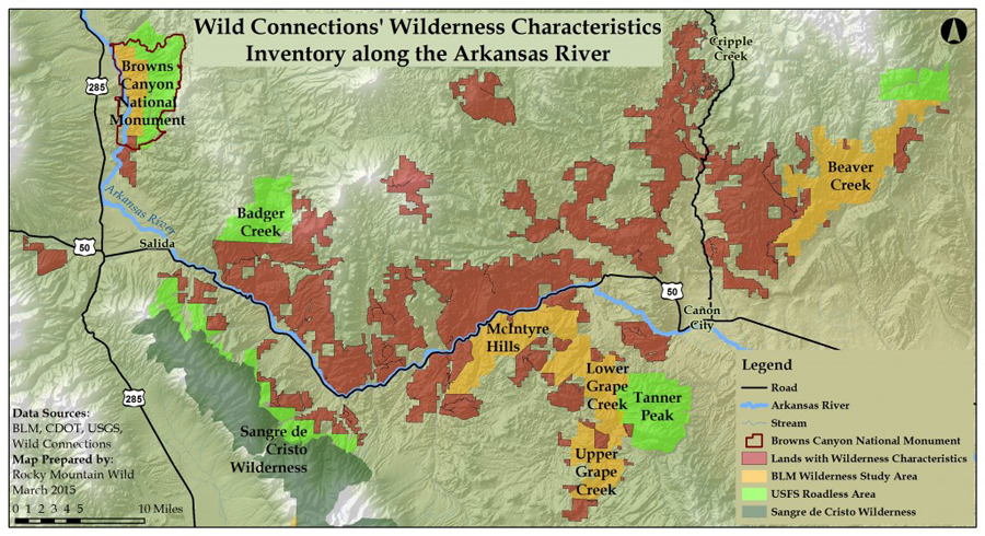Wilderness Characteristics Inventory along the Arkansas River. Map created by Rocky Mountain Wild.