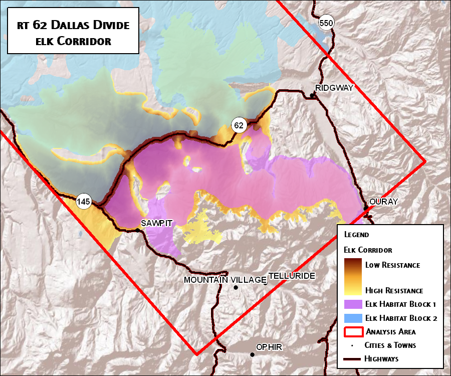 Figure 6a: Elk linkage at Dallas Divide in southwestern Colorado crossing over Highway 62. Dark brown represents areas of low resistance (low cost of movement) between the two core habitat areas.