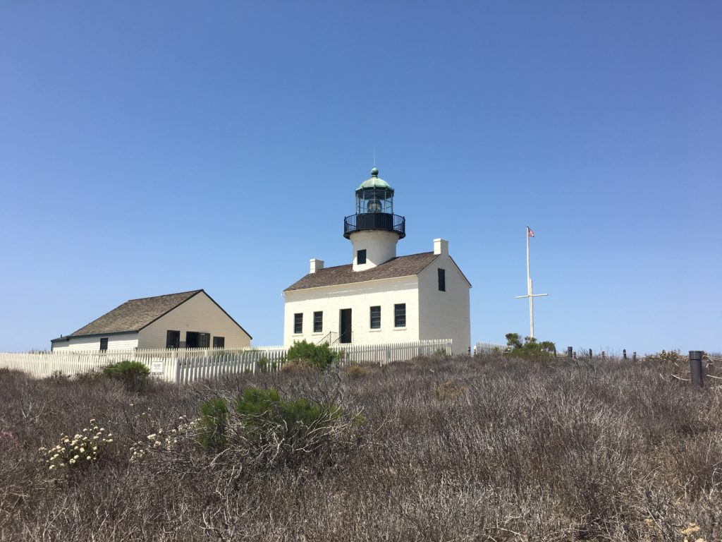 Lighthouse and outbuildings on bluff