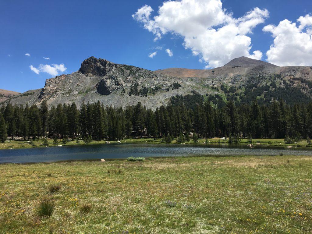 Lake with granite peaks behind