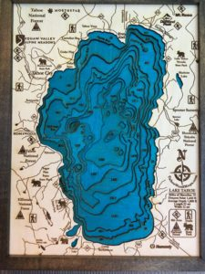 Topographic map of Lake Tahoe made of wood