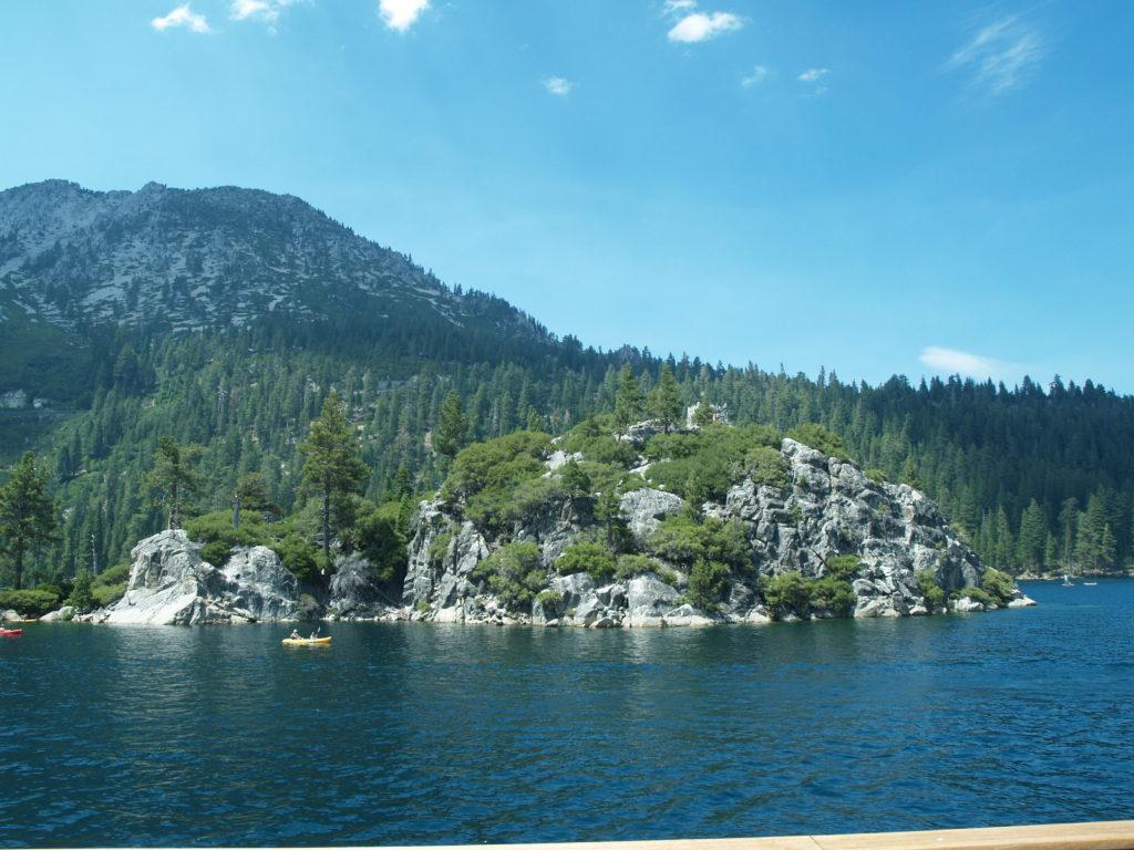 Fanette Island behind deep blue water