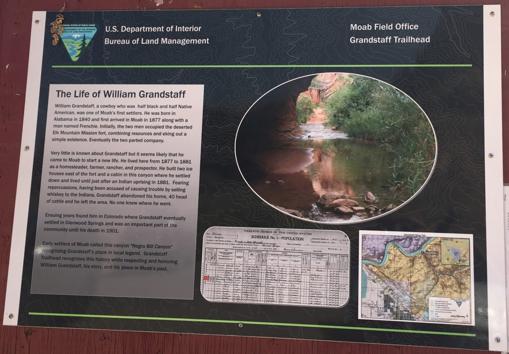 Grandstaff trailhead sign with photo, interpretive text, and map.