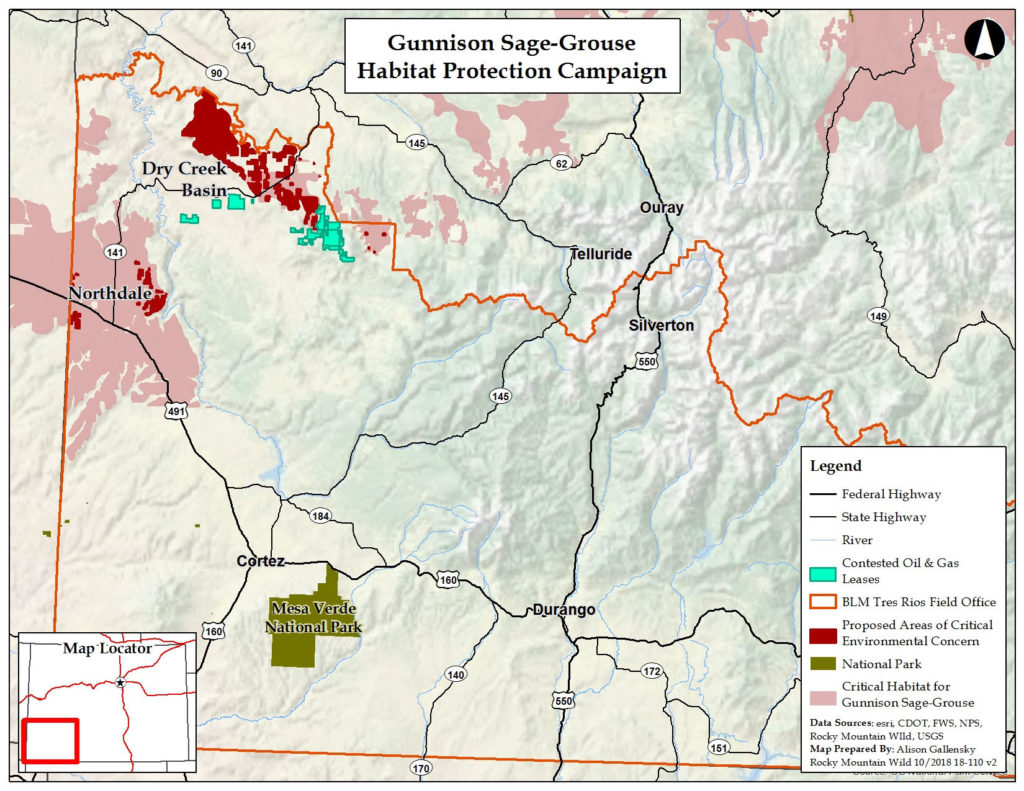 Gunnison sage-grouse habitat protection campaign map