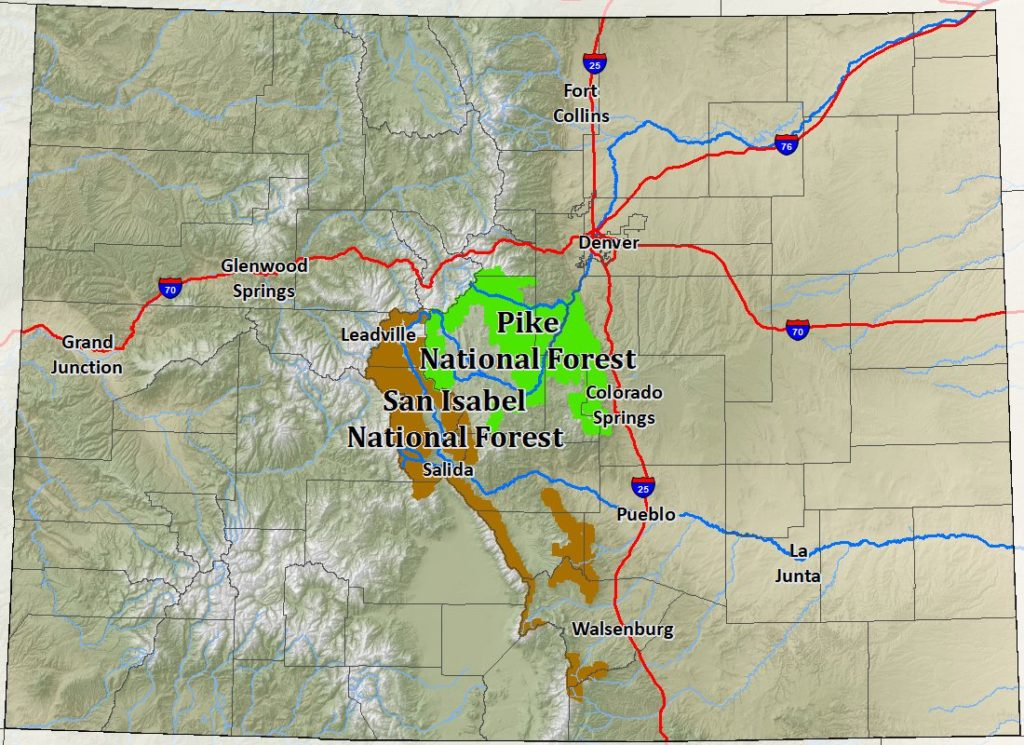 Map showing the location of the Pike National Forest west of Colorado Springs and southwest of Denver and the San Isabel National Forest that extends south-southeast from Leadville towards the New Mexico border.