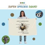 Super Species Squad illustration showing a long-haired person holding a banner that has a Gunnison sage-grouse on it.