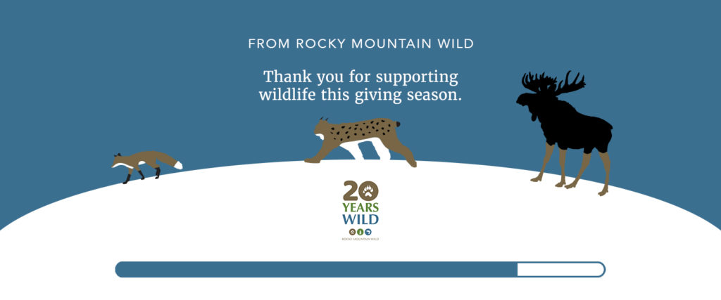 """Illustration that shows a red fox, Canada lynx, and moose crossing over a snowy landscape. Above them, text says """"Join Rocky Mountain Wild. Give the gift of wildlife this giving season."""" Below them is our 20th anniversary logo and a giving thermometer, showing 82% completion."""