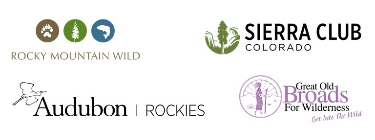 Logos from Rocky Mountain Wild, Sierra Club Colorado, Audubon Rockies, and Great Old Broads for Wilderness
